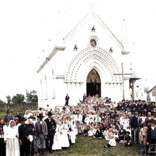 ANTIGA IGREJA SÃO JOÃO NA ATUAL PRAÇA BARÃO DE GUARAÚNA - 1909 - FOTOGRAFIA DE FREDERICO LANGE - COLORIZADA POR JOÃO EDILSON LOPES